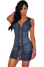 Abito cono aperto aderente jeans Button Scollo Spacco Mini Denim Bodycon Dress M