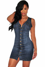 Abito cono aperto aderente jeans Button Scollo Spacco Mini Denim Bodycon Dress S