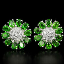 Sterling Silver 925 Genuine Natural Chrome Diopside & Lab Diamond Stud Earrings
