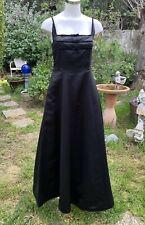 VTG HILLARD & HANSON Black Classic Long Formal Cocktail Dress Gown Sz 8 Bows