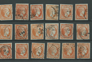 Greece   Large Hermes Heads Collection of 10 Lepta 18 Used Stamps