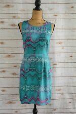 Charlie Jade - Teal green PURPLE snakeskin print polyester sheath dress, size M