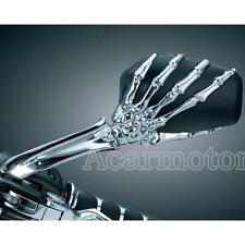 Chrome Skull Hand Rearview Mirrors for Harley Davidson XL 883 Hugger Sportster