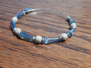 Silver Tone Alex and Ani Rainbow Bead Wood Bangle bracelet