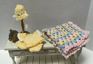 Vintage Artisan Yellow Silk Crochet 2 Piece Cap Blanket Dollhouse Miniature 1:12