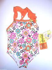 Penelope Mack White & Orange Floral One Piece Swimsuit Size 18M NWT