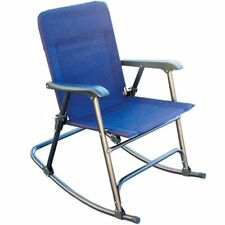 Camping Rocking Chairs Adults Blue Fabric Folding Heavy Duty Steel Frame Patio