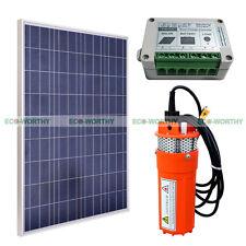 160W Solar Panel + 15A Controller + 12V Deep Well Pump Submersible Water Pump