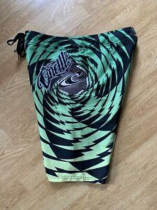 Rare Green Zebra O'Neill Embroidered Patchwork Stretch Surf Board Shorts Sz 32
