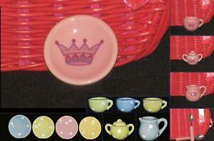 Delton Child's 17 pc Porcelain Tea Set Replacement CUP SAUCER CREAMER or SUGAR
