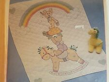 JCA Baby Collection Stamp Cross Stitch Quilt NURSERY PALS FABRIC ONLY 35x43 NEW
