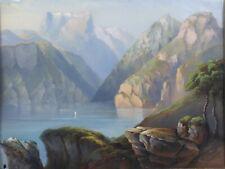 Aquarelle sur papier représentant un paysage Lac de montagne signée Suisse Alpes