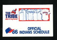 Cleveland Indians--1986 Pocket Schedule--WWWE