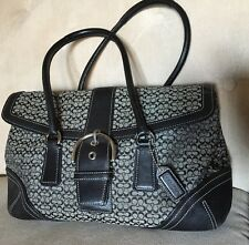 Coach Signature Handbag Shoulder Snap Buckle Soho Black Gray Leather*