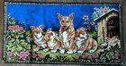 Vintage Welsh Corgi Dogs Wall Art Tapestry Hanging Italy Lodge Bar Mancave Decor