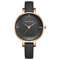Fashion Casual Watches Women's Leather Band Black Face Quartz Analog Wrist Watch