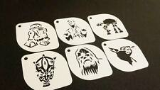 6pcs STAR WARS R2-D2 Han Solo AT-AT Darth Maul Chewbacca Master Yoda Stencil Set