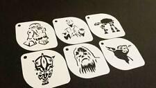 6pcs STAR WARS R2-D2 Han Solo AT-AT Darth Maul Chewbacca Master Yoda Stencil Set
