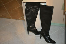 Black Leather COSTUME NATIONAL KNEE HIGH Side Zipper BOOTS 8