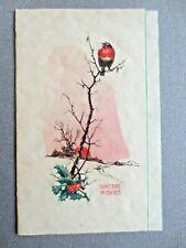 Vintage CHRISTMAS Card 1937 Robin & Holly BALL St Gerard's School CHELMSFORD