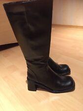 Damen Gr. 37 Leder Stiefel Plateau Schwarz Gothic Reiter Neu OVP Winter Warm Wow
