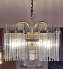 Gaetano Sciolari Glass Rod Chandelier Brass Lightolier Mid Century