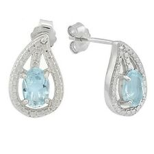 Ohrringe/Ohrstecker Lauren, 925er Silber, 1,041 Kt. echter Blautopas & Diamant