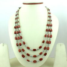 NATURAL OVAL RED SUNSTONE GEMSTONE  BEADED NECKLACE 55 GRAMS