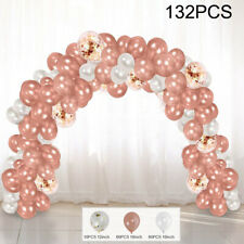 132PCS/SET ROSE GOLD CONFETTI BALLOONS GARLAND ARCH KIT CHROME WEDDING BIRTHDAY