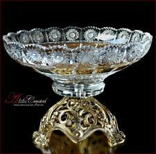 "Bohemia Crystal Fruits bowl 26 cm, ""Mona Liza"" Gold, New!"