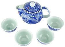 5pc Ceramic BLUE DRAGON Chinese small Tea Set Teapot strainer 4 Cups in gift box