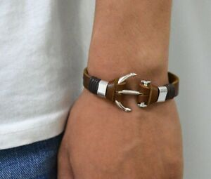 Bracelet Hip pop  Fashion Braided Leather Silver Stainless Steel Cuban  Couple