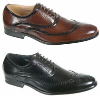 Mens Shoes Black / Brown Leather Lined Formal Brogues Size 6 7 8 9 10 11 12