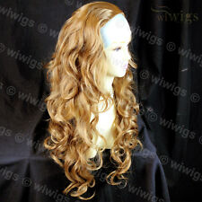Wiwigs Long Layered Curly Golden Blonde 3/4 Fall Hairpiece Ladies Half Wig