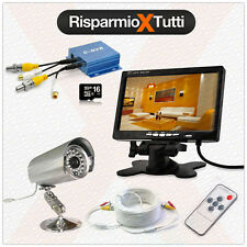 KIT VIDEOSORVEGLIANZA COMPLETO -  DVR + TELECAMERA + MONITOR + SCHEDA SD + CAVO