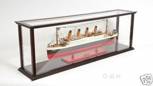"""Wooden Table Top Ship Model Display Case For 40"""" Ocean Liner & Cruise Ships New"""