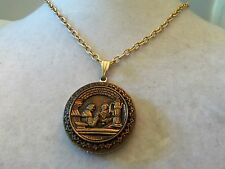Silver, Gold & Copper Toned ORNATE Design MONKS & STEIN Pendant Necklace 14N667