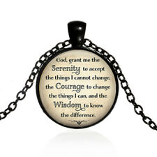 Serenity Prayer Tibet black Glass dome Necklace chain Pendant Wholesale