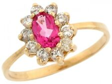 10k or 14k Yellow Gold Pink and White Topaz Petite Ladies Ring