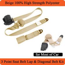 Retractable 3 Point Car Safety Seat Belt Lap & Diagonal Belt Kit 26700 N Beige