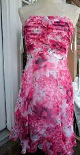 White House Black Market SILK Pink Floral Ruffled Strapless DRESS Sz 4 ~BP6