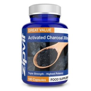 Activated Charcoal 300mg - Coconut Charcoal, Pack of 180 Capsules, Digestion ...