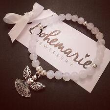 White Agate Angelo Custode Braccialetto Gemstone protezione bijoux gioielli Boho