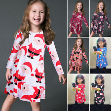 Kids Baby Girls Toddler Long Sleeve Party Holdiday Christmas Xmas Skater Dress