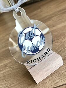 Personalised Best Coach Christmas Gift Acrylic Bauble And Name Football Trainer