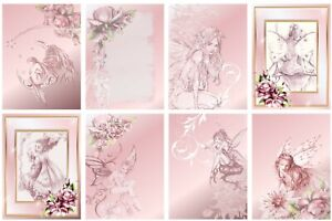 BELIEVE IN FAIRIES  - 2 x A4 SHEETS OF CARD TOPPERS -  SCRAPBOOKING - 250GSM