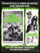 THE EVIL OF FRANKENSTEIN / NIGHTMARE__Orig. 1964 Trade AD / theatre promo_HAMMER