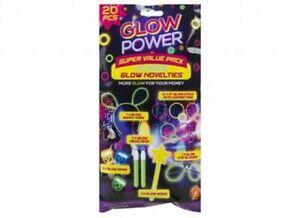 """12 X 8"""" GLOW STICKS GLOW BUNNY EARS GLOW RINGS GLOW WAND GLOW GLASSES 20PC SET"""