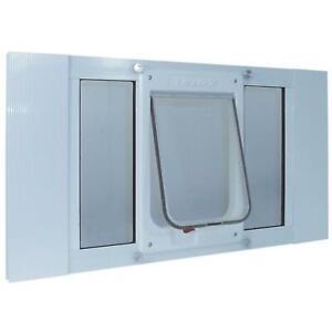 7.5 X 10.5 in. Chubby Cat Sash Window Door Insert Medium Flap White Aluminum