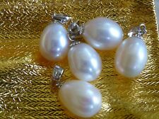 LOVELY 5 x WHITE FRESHWATER PEARL DROP PENDANTS 925 Sterling Silver Peg & Bail
